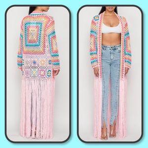Pink Multicolor Fringe Long Open Crochet Coverup